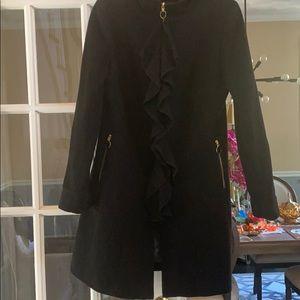 Tahari Beautiful Wool Designer Ruffle Coat